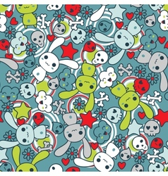 Seamless pattern with doodle kawaii vector image