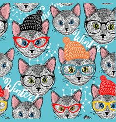 Seamless winter pattern with cat in hat vector