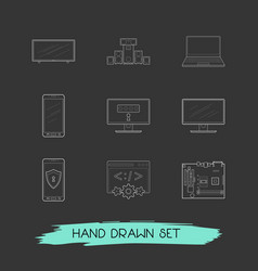 set of tech icons line style symbols with web vector image