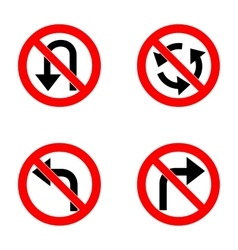 Set of variants a U-Turn forbidden - road sign vector image