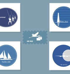 Set of various symbols on a blue background vector image