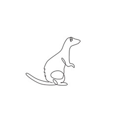 Single continuous line drawing cute standing vector