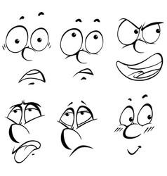 Six different facial expressions vector