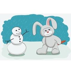 Snowman and bunny vector