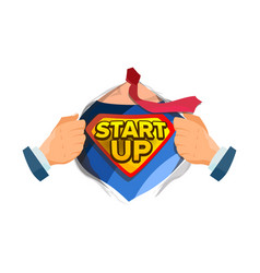 startup sign superhero open shirt with vector image