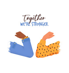 Stronger together concept people elbow bump vector