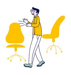 Successful businessman in formal wear applauding vector