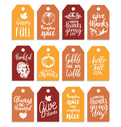 tags with lettering and vector image