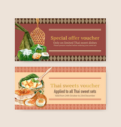 Thai sweet voucher design with custard vector