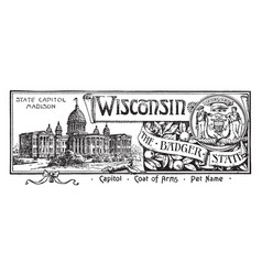 The state banner of wisconsin the badger state vector