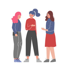 three young women talking and discussing meeting vector image