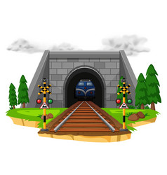 Train riding on railroad vector
