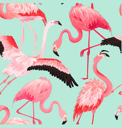 tropical flamingo seamless summer pattern vector image