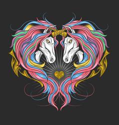 Unicorn full rainbow color hair love vector