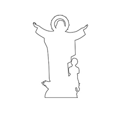 virgin mary statue path on white background vector image
