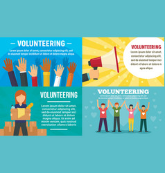 Volunteering banner set flat style vector