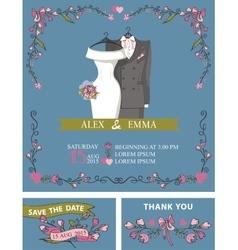 Wedding invitation with wedding dressfloral decor vector image