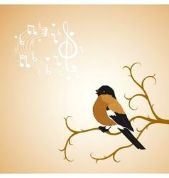 Winter bullfinch bird tweets on a tree branch vector image