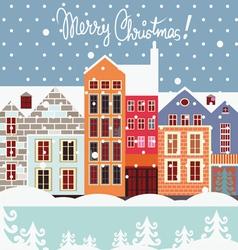 Winter street christmas postcard vector