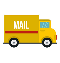 yellow mail truck icon isolated vector image