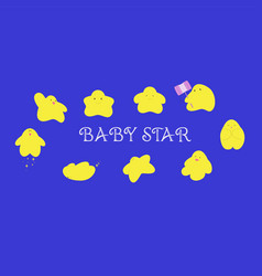 baby star characters cartoon in many action vector image vector image