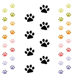 black and colorful animal footprints vector image vector image