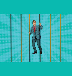 businessman in prison for the bars vector image