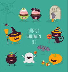 halloween characters icon set vector image vector image