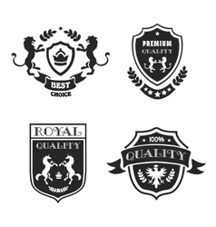 Heraldic elements black emblems set premium vector image