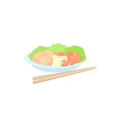 Traditional vietnamese food with chopsticks icon vector image vector image