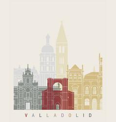 valladolid skyline poster vector image vector image