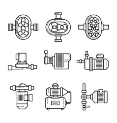 Water pump line icons sets vector image