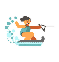 Young human on water skiing holding black halyard vector