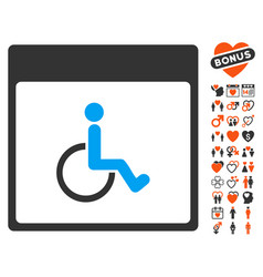 handicapped calendar page icon with valentine vector image