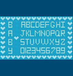 Knitted abc alphabet knitting pattern boy light vector