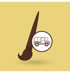 School bus icon brush paint graphic vector