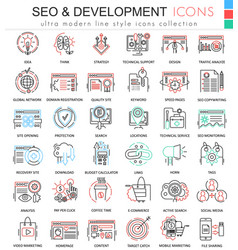 SEO and development ultra modern color vector image vector image