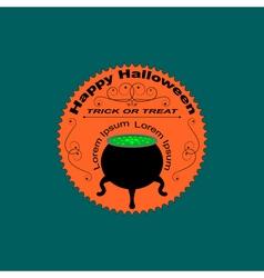 Halloween logo sign with cauldron vector image vector image