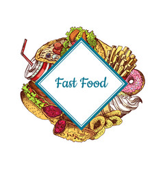 hand drawn colored fast food i vector image vector image