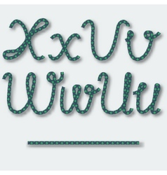Letters U V W X - handwritten alphabet of rope vector image