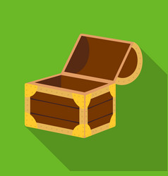 Pirate wooden chest icon in flat style isolated on vector