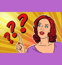 question mark pop art woman vector image vector image