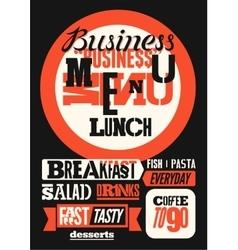 Restaurant business menu typographic design vector image
