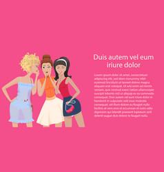 three women gossips standing and talking vector image