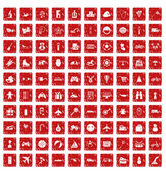 100 toys for kids icons set grunge red vector image vector image