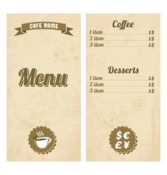 Cafe menu design with treasure map vector image