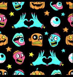 halloween seamless pattern in cartoon comic style vector image vector image