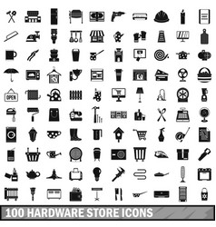 100 hardware store icons set simple style vector