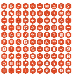100 pointers icons hexagon orange vector