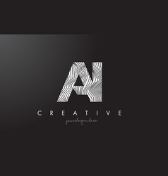 Ai a i letter logo with zebra lines texture vector